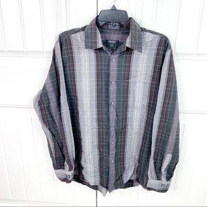 DKNY Men's Plaid Button Down Long Sleeve Shirt L